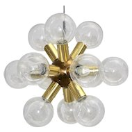 Brass Atomic twelve arm Sputnik Chandelier J.T.Kalmar 1970