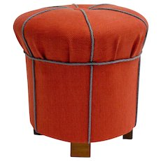 Orange Art Deco Pouf or Ottoman Austria 1930s