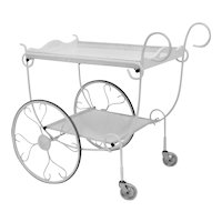 White lacquered Metal Bar Cart Germany 1950s