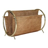 Brass and Brown Suede Magazine Rack 1950s