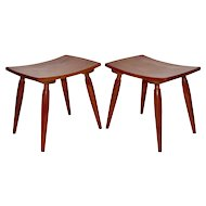 Cherry Wood Stools Vienna 1950s
