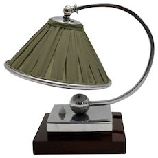 Green Shade and Chromed Art Deco Table Lamp France 1920s