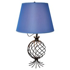 Blue Shade and Metal Table Lamp by Jean Royere attr. 1950