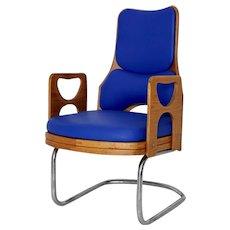 Blue Scandinavian Arm Side Chair 1950s