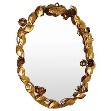 Gilded Oval Wall Mirror with Flowers and Roses Italy 1950s