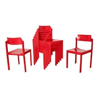 Set of Seven Cherry Red Dining Chairs Vienna 1960s