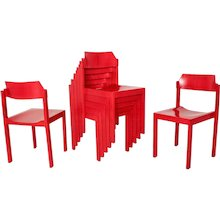 Seven Cherry Red Dining Chairs Vienna 1960s