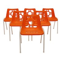 Orange Plastic Stacking Chairs 1960s