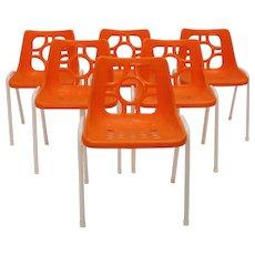 Orange Plastic Stacking Chairs 1960s