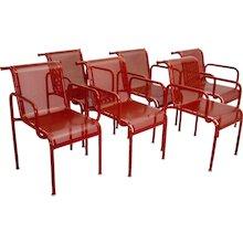 Six Red Garden Metal Chairs by Sonett 1970s Austria