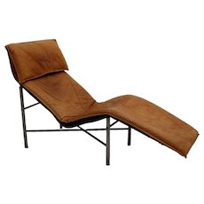 Cognac Leather Chaise Longue by Lord Bjorklund Sweden 1970s