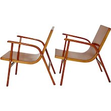 Brown Pair of Lounge Chairs by Roland Rainer 1952 Vienna