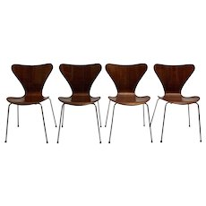 Set of four Arne Jacobsen Stacking Chairs model Nr. 3107 circa 1955