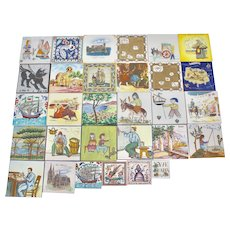 A Collection of 30 decorative Ceramic Tiles Europe 1960s