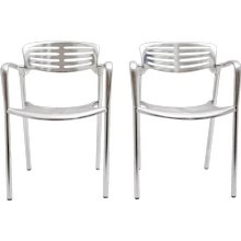 Pair of Aluminium Stacking Chairs by Jorge Pensi Spain