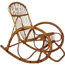 Mid Century Modern Rattan Rocking Chair 1960s Italy