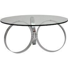 Mid Century Modern Chromed Coffee Table with three chromed rings 1960s