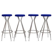 Set of four blue Barstools 1950s Austria