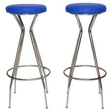 Pair of blue Barstools 1950s Austria