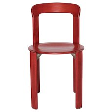 Set of Six Red Stacking Dining Chairs by Bruno Rey 1970s
