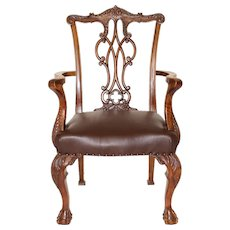 Walnut Chippendale Style Armchair circa 1920