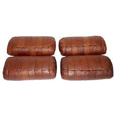 Set of four cognac Leather Pillows by De Sede 1970s Switzerland
