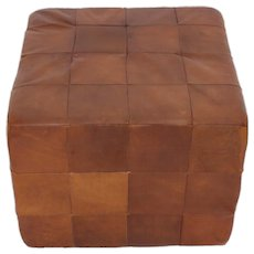 De Sede Cognac Patchwork Leather Cubus Stool 1970s Switzerland