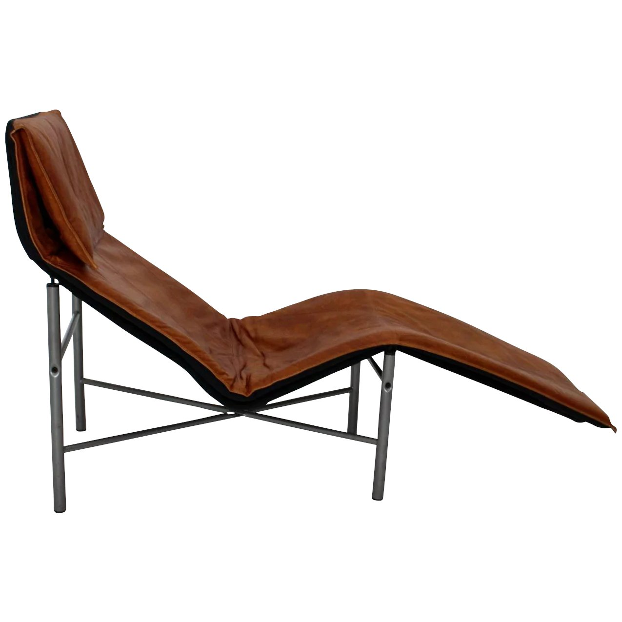 cognac leather chaise longue by tord bjorklund 1970 sweden. Black Bedroom Furniture Sets. Home Design Ideas