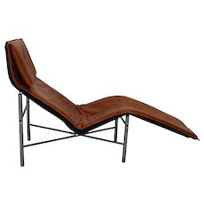 Cognac Leather Chaise Longue by Tord Bjorklund 1970 Sweden