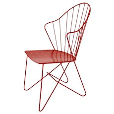 Red Viennese Astoria Side Chair by J. O. Wladar & V. Mödlhammer for Sonett circa 1955