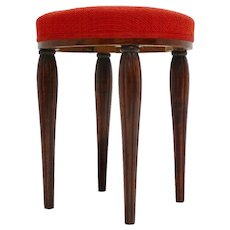 Red Walnut Stool Vienna Sezession by Otto Prutscher attr. Vienna circa 1914