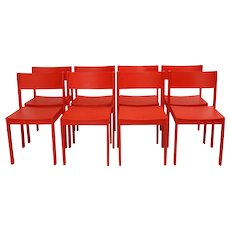 Mid Century Modern Red Dining Room Chairs Vienna Set of 8