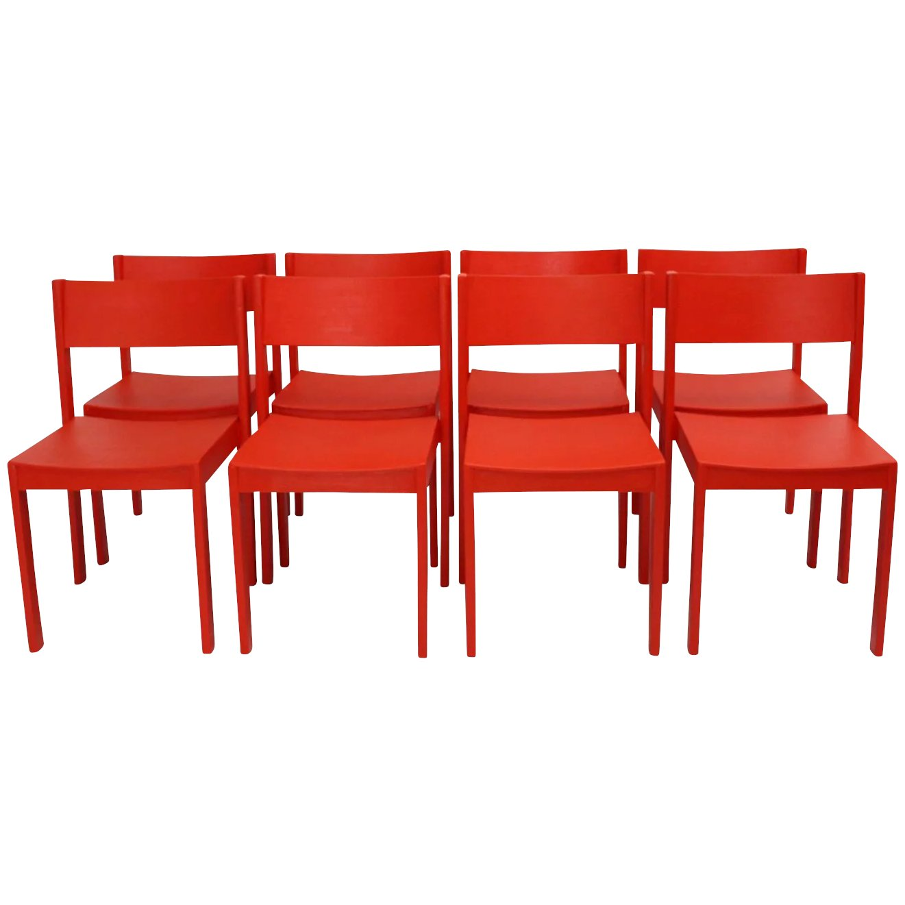 Mid Century Modern Red Dining Room Chairs by Carl Auböck 1956 Vienna Set of  8