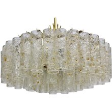 Mid Century Modern Glass tube Chandelier 4479/8 by Doria 1970s