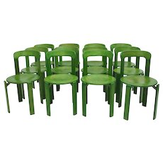 Set of 12 green Dining Chairs by Bruno Rey 1970s Switzerland