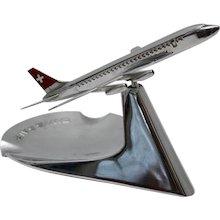 Chromed Ashtray Swissair Airplane Model circa 1960