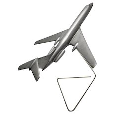 Aluminium Jet Aircraft Model 1960s with metal holder