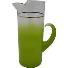 Green Glass Water Jug Italy 1950s