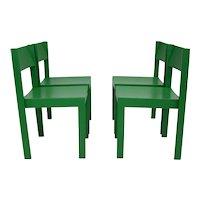 Green Mid Century Modern Dining Room Chairs Vienna, Set of 4