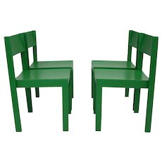 Green Mid Century Modern Dining Room Chairs Vienna, Set of 4
