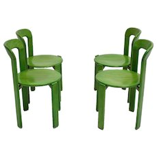 Set of Four Green Dining Room Chairs by Bruno Rey 1970s