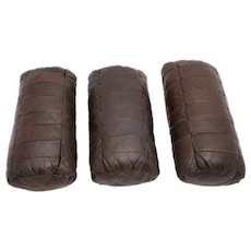 Set of three patchwork leather pillows by De Sede 1970s Switzerland