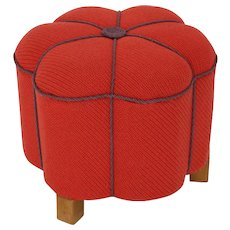 Red Art Deco Pouf 1930s Austria