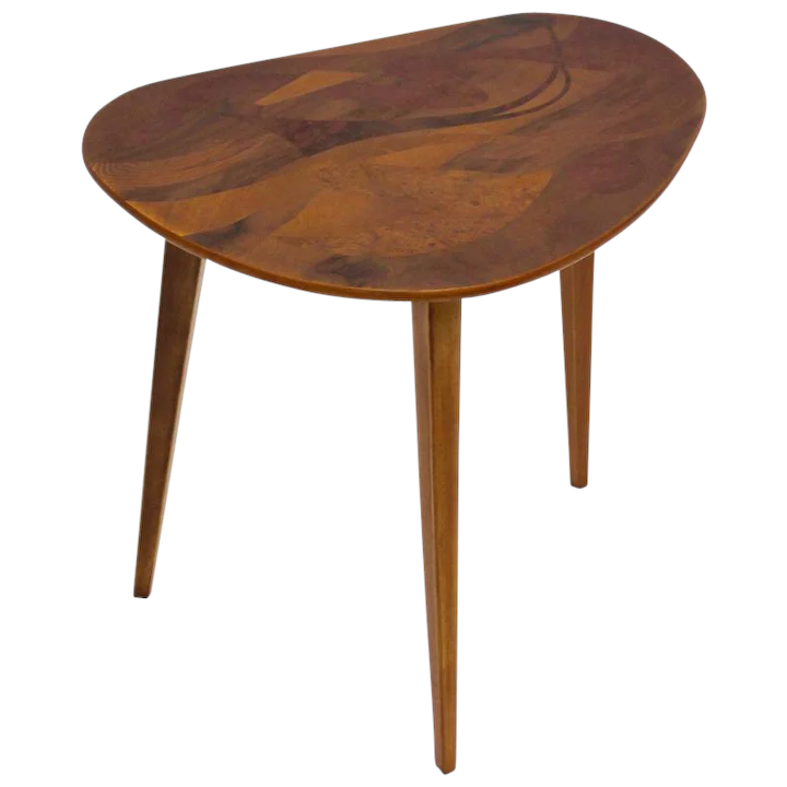 Mid Century Modern Wooden Side Table With With Inlaids 1950s Austria Nobarock Rubylux
