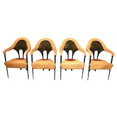 20th Century  Modernist Rattan Dining Chairs