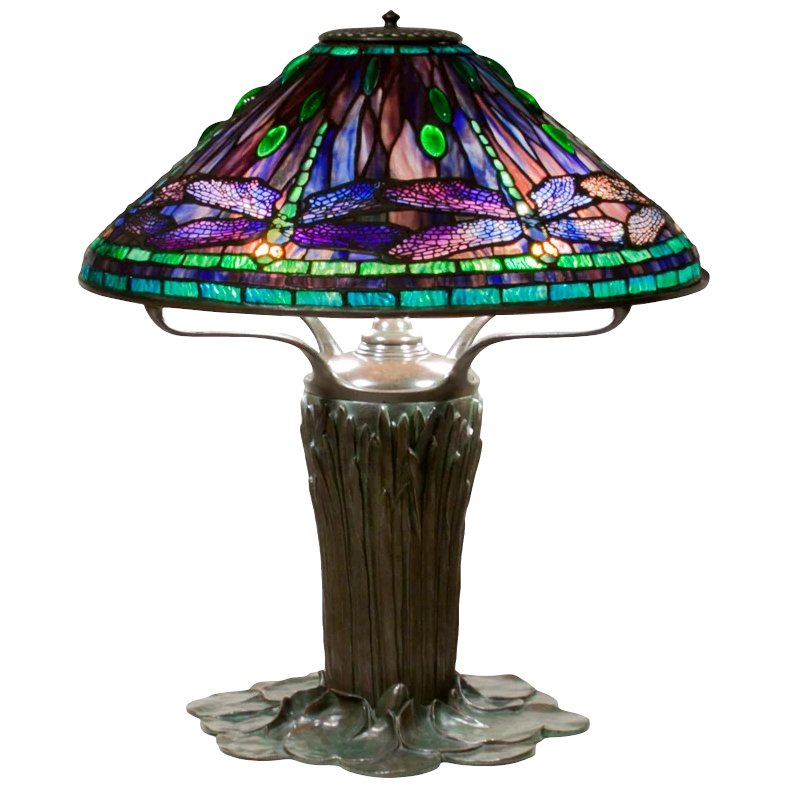 Exceptional tiffany studios dragonfly table lamp lillian for 1908 studios tiffany blue dragonfly floor lamp