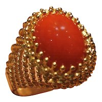 1950s Italian Yellow Gold and Coral Ring