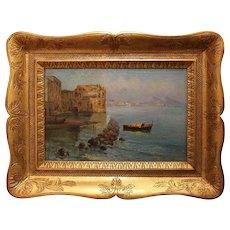 Oil on Canvas feat. Donn'Anna Palace in the Bay of Naples at Posillipo by Oscar Ricciardi