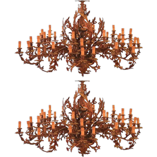 Pair of Monumental Ormolu Chandeliers