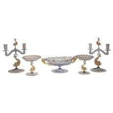 Hand Blown Murano Five-Piece Centerpiece Set With Candlesticks and Bowls